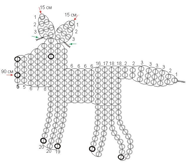 схема плетения волка.